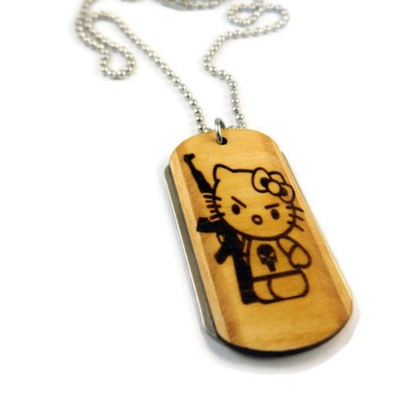 Tailor Made Tags Other - Hello Kitty With Rifle Wooden Dogtag Necklace